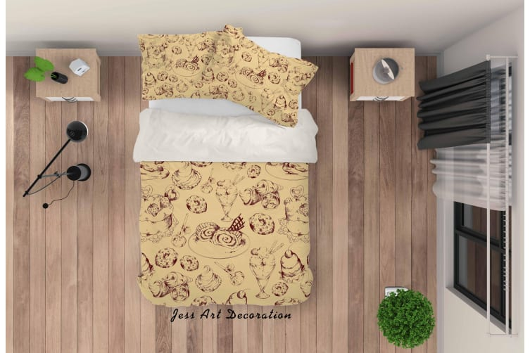 3D Hand Painted Brown Bread Quilt Cover Set Bedding Set Pillowcases 30-Queen
