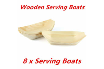 8 x Boat Eco Plate Bamboo Bowls Biowood Serving Dish Wooden Tray Plate Party 18x10cm