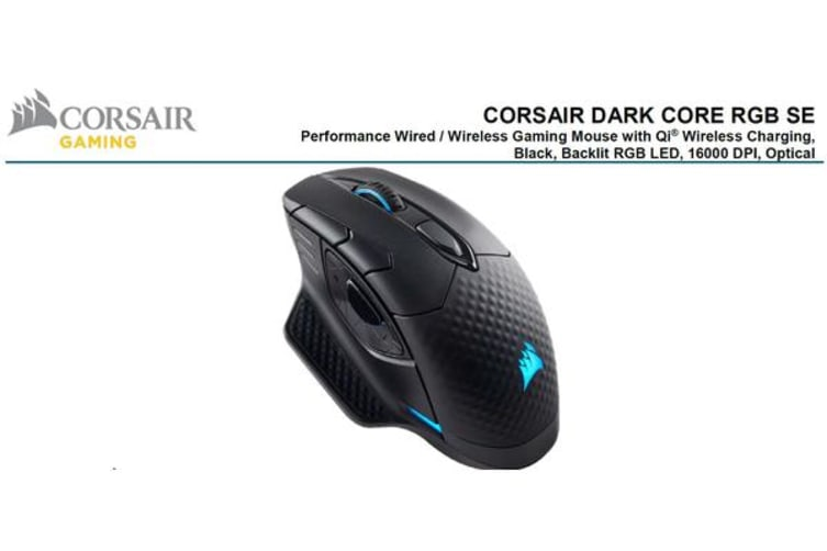 Corsair DARK CORE RGB SE Gaming Mouse - Black, Wire, Wireless Qi Charging,  Backlit RGB LED, 16000 DPI, Optical