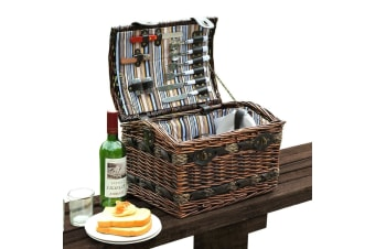 Wicker 2 Person Picnic Basket Folding Handle Outdoor Corporate Gift Blanket Park