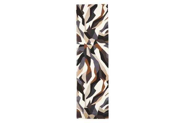 Crossroads Designer Wool Rug Brown White Grey 300x80cm