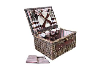 4 Person Picnic Basket Set with Blanket