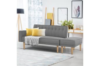 Artiss 3 Seater Sofa Bed Ottoman Recliner Lounge Couch Futon Scandinavian Grey