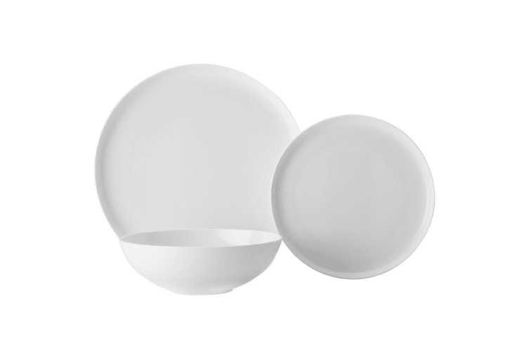 18pc Casa Domani Pearlesque Coupe Bone China Bowls Dinner Side Plates White Set