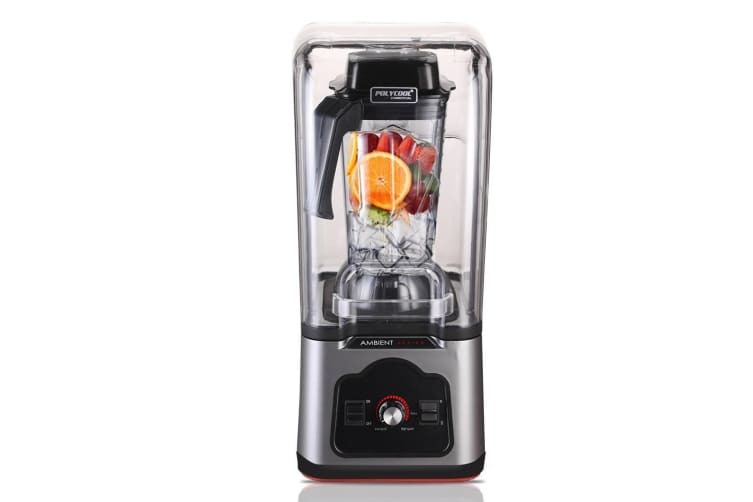 POLYCOOL Commercial Blender Quiet Enclosed Processor Smoothie Mixer Cafe, Silver