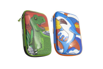 Glitter Critters Carry Me 24 Slots Pencil Cases w/Mesh Compartment Shark & T Rex