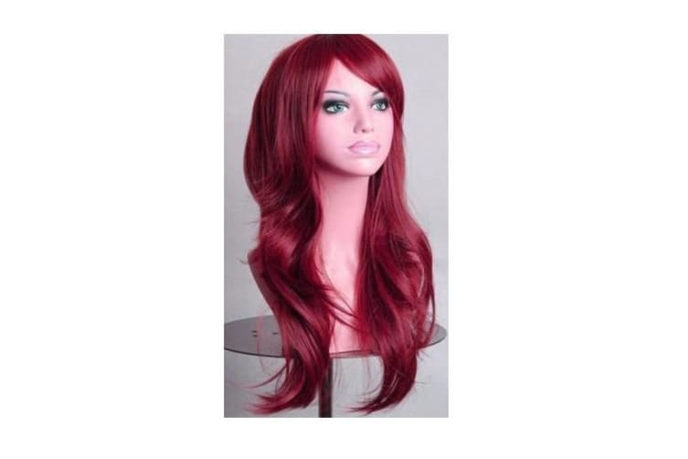 70cm Wavy Curly Sleek Full Hair Lady Wigs w Side Bangs Cosplay Costume Womens - Burgundy