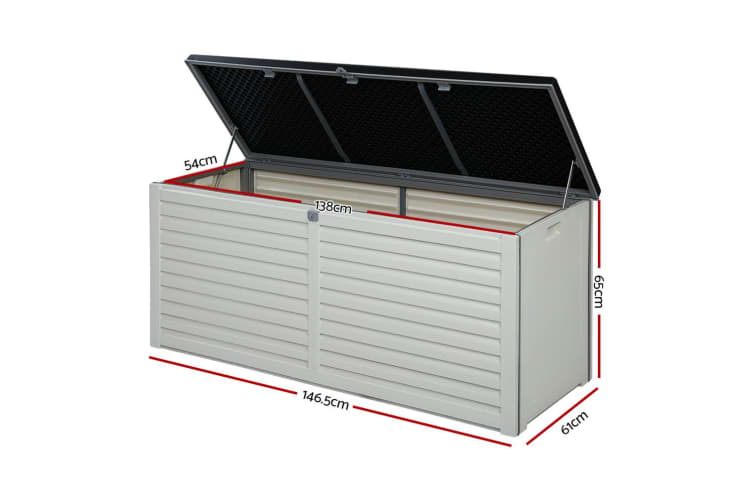 Outdoor Storage Box Bench Seat Indoor Toy Tool Sheds Chest Patio 490L