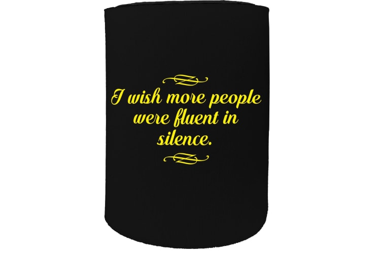123t Stubby Holder - i wish more people fluent silence - Funny Novelty