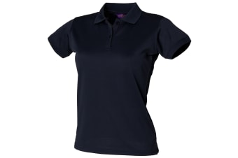 Henbury Womens/Ladies Coolplus® Fitted Polo Shirt (Navy) (L)