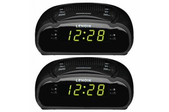 2PK Lenoxx AM/FM Station Radio Digital LED Dual Alarm Clock Sounds Snooze/Sleep