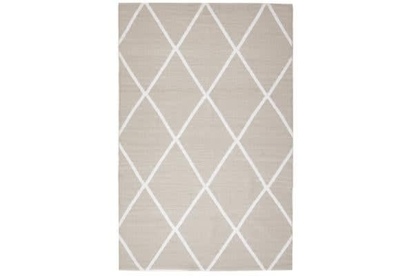 Coastal Indoor Out door Rug Diamond Taupe White 220x150cm