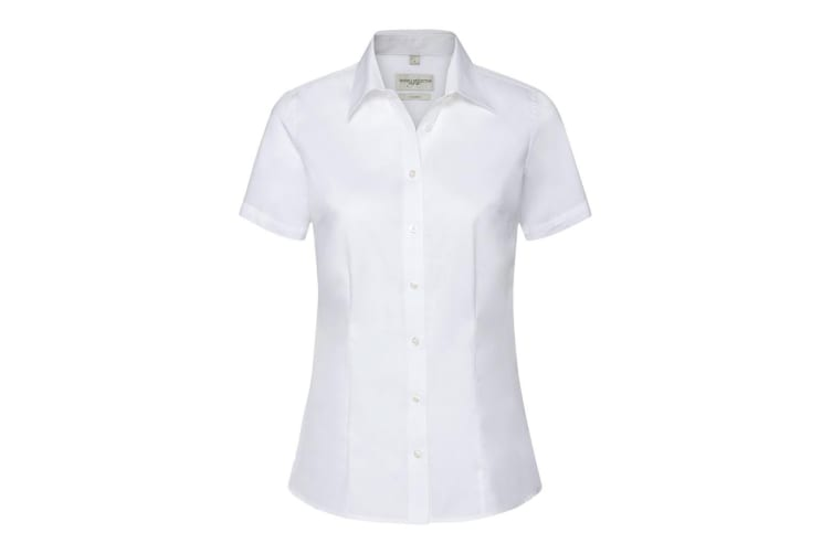 Russell Collection Womens/Ladies Short Sleeve Tailored Shirt (White) (M)