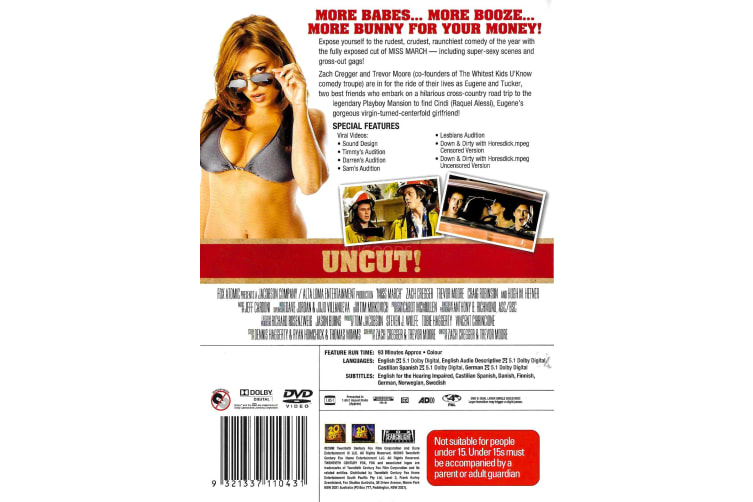 Miss March Uncut- Zach Cregger, Trevor Moore -Comedy Region 4 Preowned DVD: DISC LIKE NEW