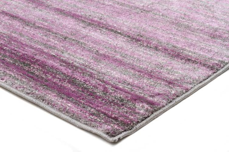 Pandora Contemporary Stripe Rug Aubergine Grey 230x160cm
