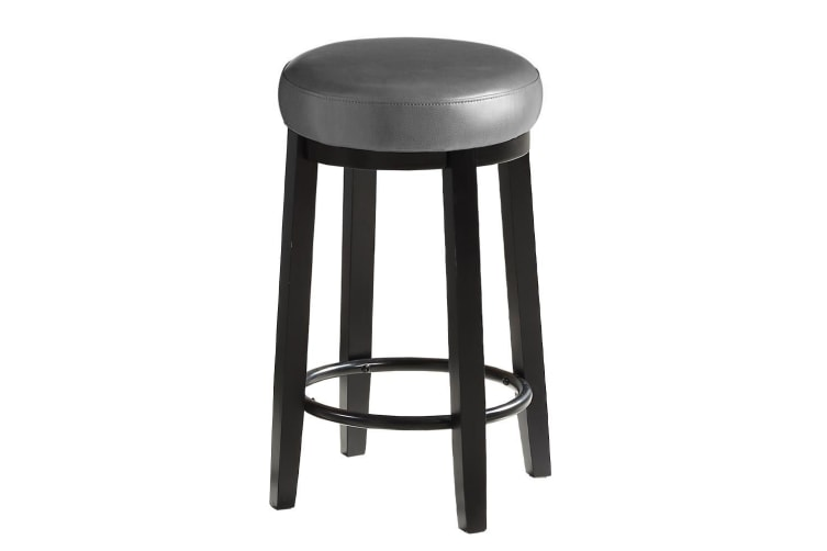 2X PU Leather Swivel Bar Stoolss Kitchen Dining Chair Wooden Barstool Padded Seat  -  Deep Sea 75CM