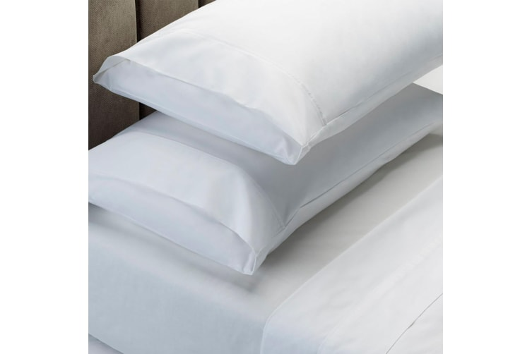 RC Bed Sheets Set 1000TC Soft Touch Cotton Blend Flat Fitted Double/Queen/King - Queen - White
