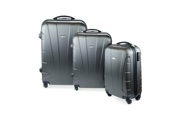 Orbis 3 Piece Hardside Spinner Luggage Set (Charcoal)