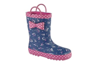 Woodland Childrens Girls Bow Trim Pull On Wellington Boots (Navy/Pink)