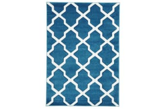 Cross Hatch Modern Rug Blue