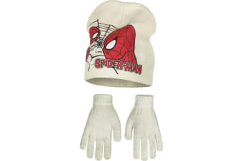 Marvel Ultimate Spider-Man Childrens Boys Profile Hat And Gloves Set (Cream)