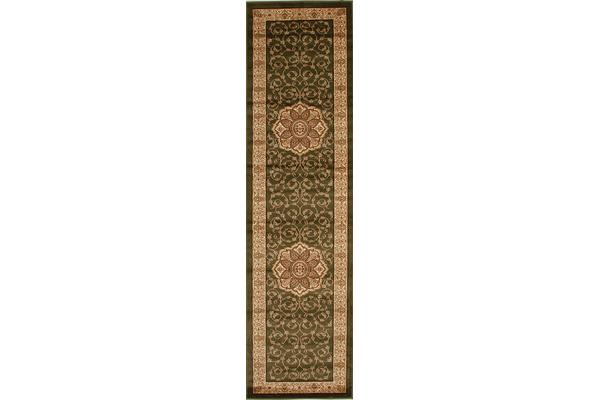 Medallion Classic Pattern Runner Green 300x80cm