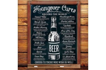 Hangover Cures Around The Globe Tin Sign | hang over cure metal remedy
