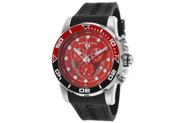 Swiss Legend Men's Avalanche Chronograph Red Dial Black Silicone (SL-21368-05-BLK)