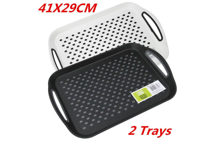 2 x Rectangular Non Slip Plastic Serving Tray Food Tray Rubber Surface Party 41x29cm