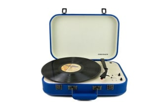 CROSLEY CR6026A-BL Coupe turntable portable WITH PITCH CONTROL denim blue Plays 7""