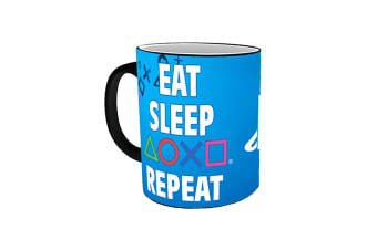 PlayStation Eat Sleep Repeat Heat Changing Mug (Blue/Black) (One Size)