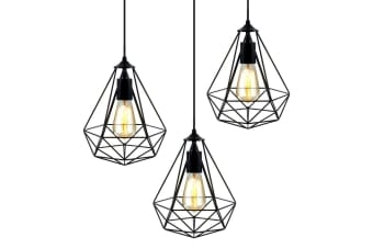 Artiss 3x Metal Pendant Light Modern Ceiling Lighting Industrial Wire Lamp Black