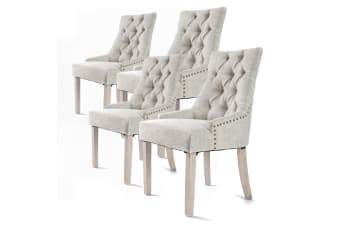 4X French Provincial Oak Leg Chair AMOUR - CREAM