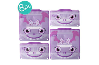 2x 4pc Russbe Kids School Reusable BPA Free Snacks & Sandwich Bag Purple Monster