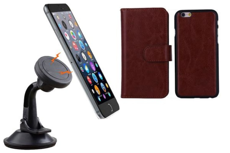 TODO Magnetic Quick Snap Car Suction Mount Leather Credit Card Case Iphone 6 - Brown