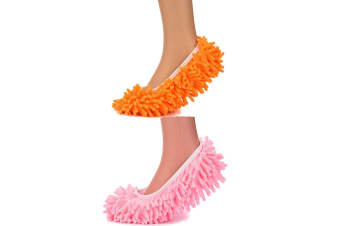 2 Pair Microfiber Mop Slippers Floor/Ground Cleaning/Polishing Cover Pink/Orange