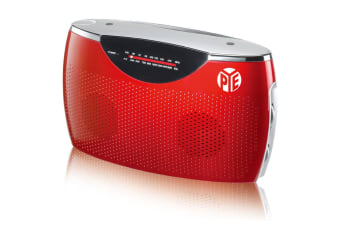 PYE Red Portable AM-FM Radio Speaker w/ 3.5mm Aux in/AC/DC/Battery Powered