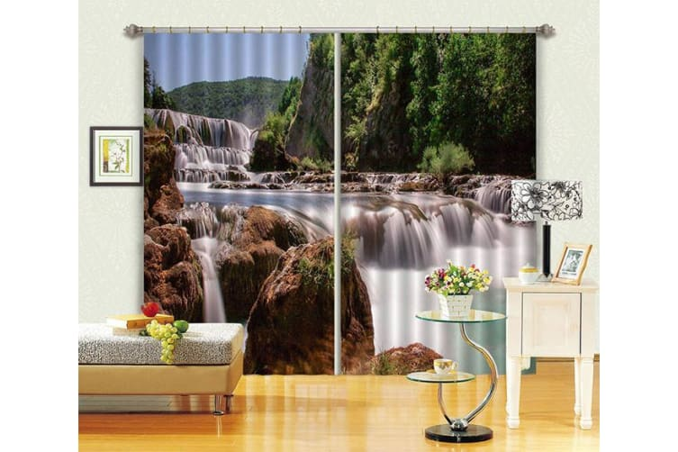 3D River Scenery 326 Curtains Drapes, 264cmx241cm(WxH) 104''x 94''