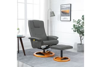 vidaXL Massage Chair with Foot Stool Grey Faux Leather