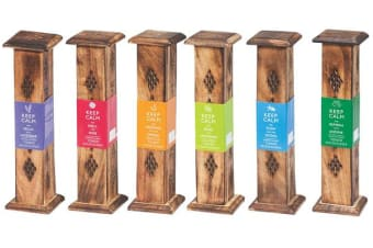 3 x Keep Calm Incense Wooden Tower Burner Assorted