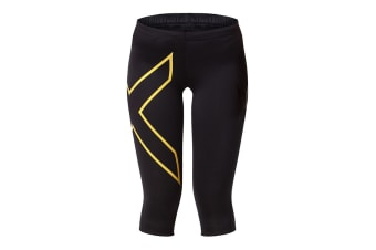 2XU Women's 3/4 Compression Tights G1 (Black/Soft Sun)