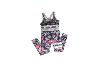 2 Pieces Floral Print Tracksuit Yoga Legging Crop Top Suit For Mother And Daughter - 4 L