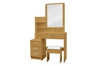 Charlotte Dressing Table Mirror w/ Drawers & Stool - Natural