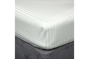 Belledorm 540 Thread Count Satin Stripe Extra Deep Fitted Sheet (Ivory) (Single)