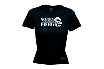 Drowning Worms Fishing Tee - Sorry If I Looked Interested - (Medium Black Womens T Shirt)