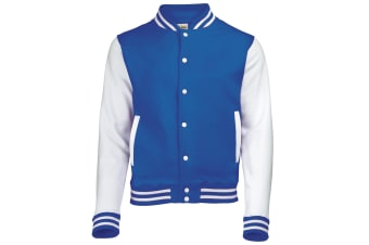 Awdis Unisex Varsity Jacket (Royal Blue / White) (M)