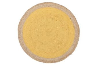 Round Jute Natural Rug Yellow 120x120cm