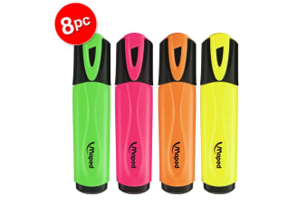 2x 4pc Maped Fluo Neon Highlighter 1-4mm Chisel Nib Inkjet Safe Marker Assorted