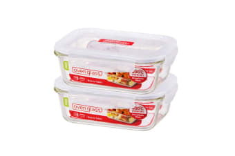 2pc Lock & Lock 650ml Glass Food Meal Prep Container Lunch BPA Free Storage Box