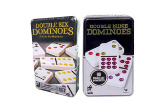 2pc Cardinal Classic Double Six/Nine Coloured Dots Dominoes w/Tin Case Kids Game